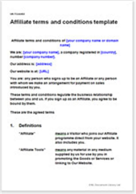 affiliate terms and conditions template affiliate contract