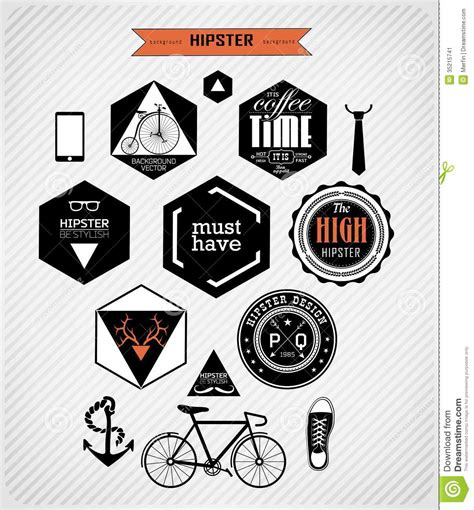 hipster style elements icons and labels stock vector hipster style elements and icons stock vector image