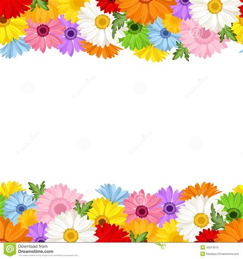 Horizontal Seamless Background With Gerbera Flower Stock Drawing Colorful Flower Backgrounds For Powerpoint Templates