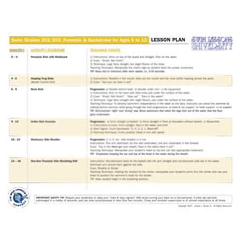 swimming lesson plan template lesson plan for swim 202
