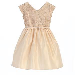 Sweet kids big girls champagne ribbon sequin satin christmas dress 14