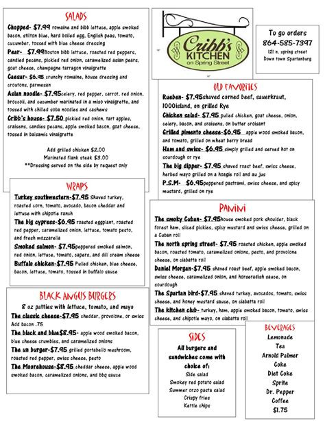 Cribbs Kitchen Menu issuu cribb kitchen menu by rebekah cribb