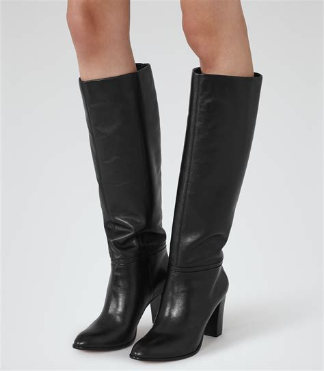 knee high leather boots for lyst reiss knee high leather boots in black