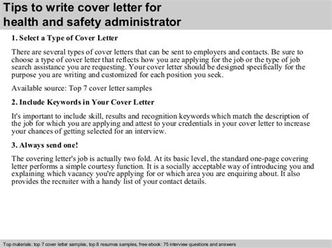 Health Administrator Cover Letter by Health And Safety Administrator Cover Letter