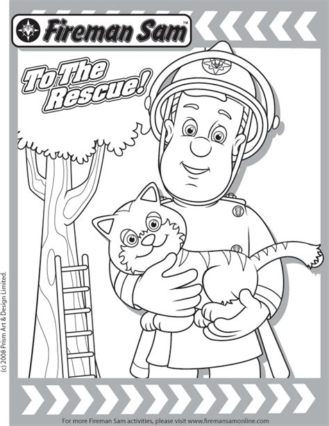 free coloring pages of fireman sam of tom