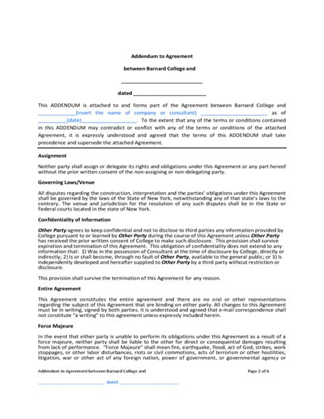 Contract Addendum Template Barnard College Free Download Contract Addendum Template