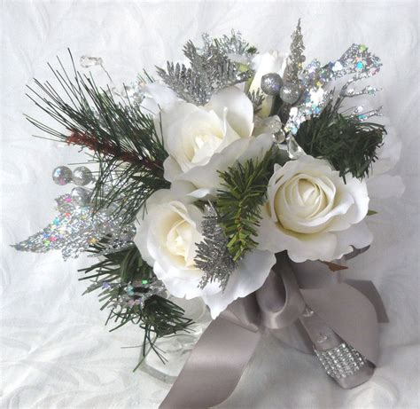 Wedding Bouquet Winter by Winter Wedding Bouquet And Boutonniere White Roses Silver
