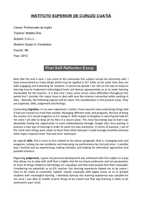 Exles Of Self Reflection Essay by Call Self Reflection Essay
