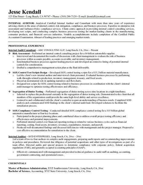 exle auditor resume free sle