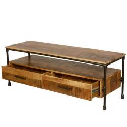 industrial tv stands industrial iron pipe mango wood tv media stand with drawers