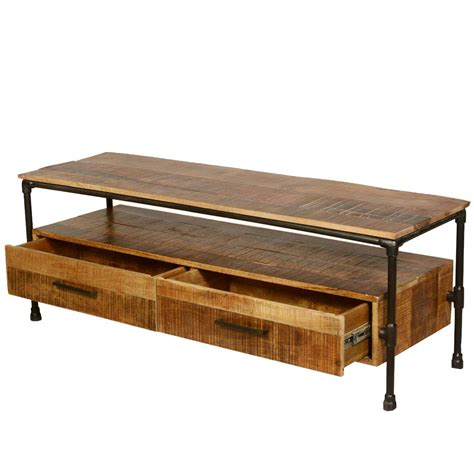 industrial tv stand holt industrial iron pipe mango wood 2 drawer tv media stand