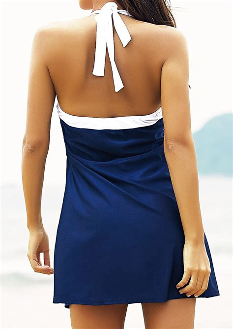 Halter Swim Dress striped halter swim dress fairyseason