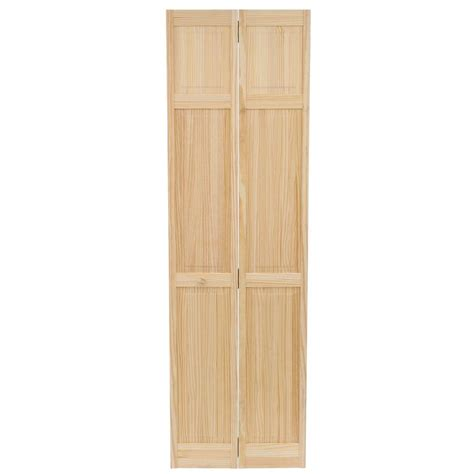 Interior Wood Bifold Doors Bay 24 In X 80 In 24 In Clear 6 Panel Solid Unfinished Wood Interior Closet Bi