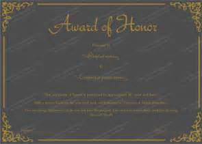 of honor template award certificate templates editable printable in word