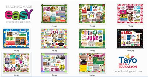 Board Of Ed Calendar Monthly Events Celebrations Bulletin Boards Deped Lp S