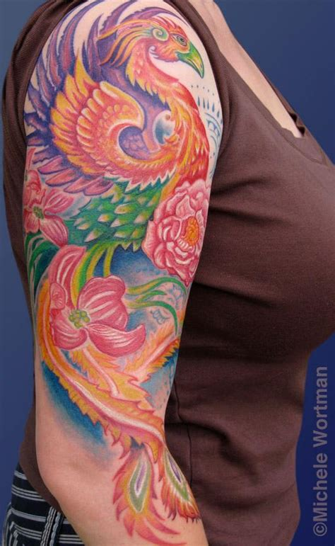 phoenix tattoo sleeve michele wortman tattoos sleeves half