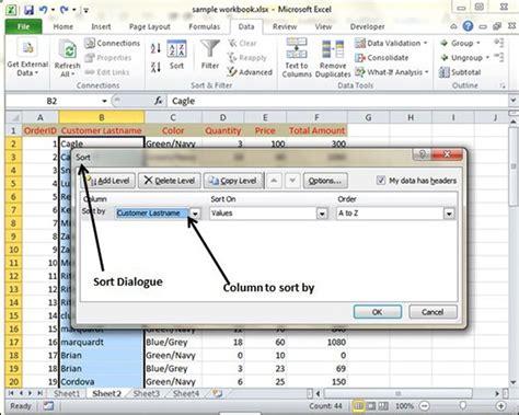 excel 2010 sorting tutorial data sorting in excel 2010