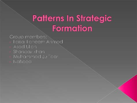 pattern formation strategies pattern in strategy formation