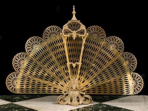 fan shaped fireplace screen antiques atlas a brass peacock fan shaped folding firescreen