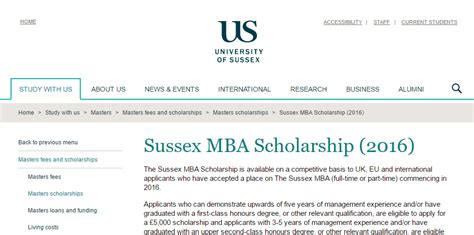 Program Sponsored Fellowships Grants Mba by Of Sussex Mba Scholarship 2017 Uk Armacad