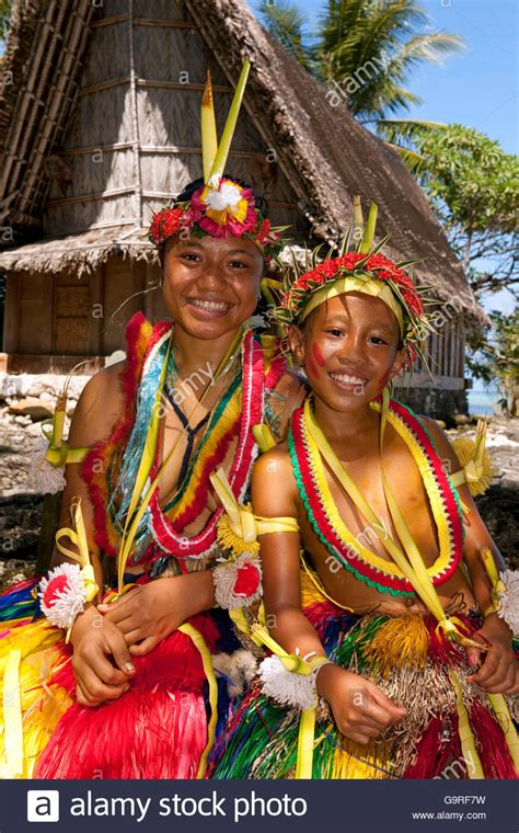 yap micronesia warrior boy girl and boy roped for traditional bamboo dance yap