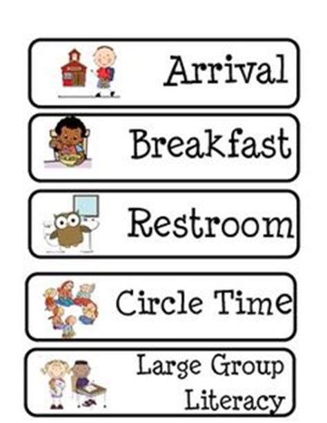 printable daily schedule cards for kindergarten printable preschool daily schedule cards quotes