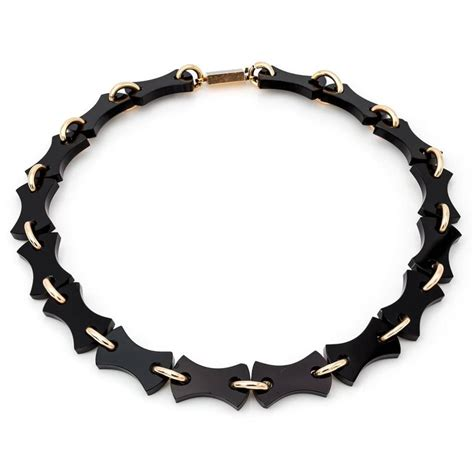 Onyx W Chain Link Necklace by Black Onyx And Gold Mourning Chain Link