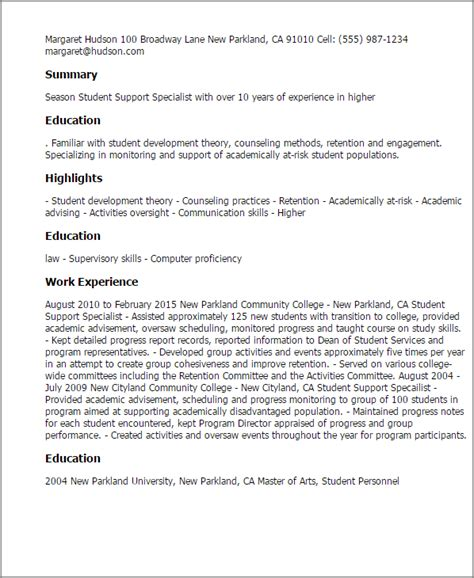 Academic Support Cover Letter by Professional Student Support Specialist Templates To Showcase Your Talent Myperfectresume