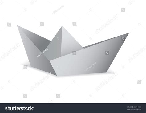 Origami White Paper - white paper boat folded origami concept stock vector