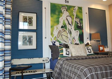 vintage sports themed boy s bedroom traditional wall murals decals sports themed interiors