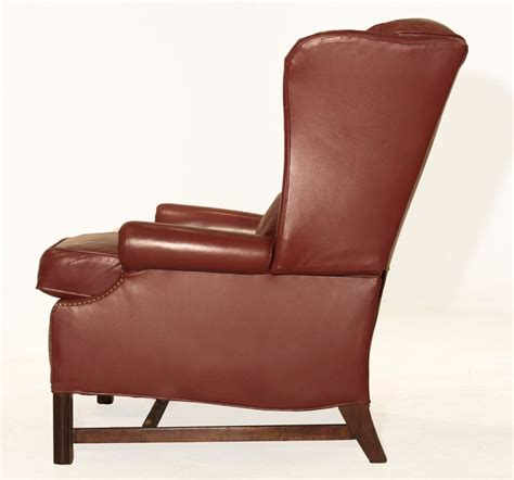wingback leather recliners wing back leather recliner in a burgundy leather at 1stdibs