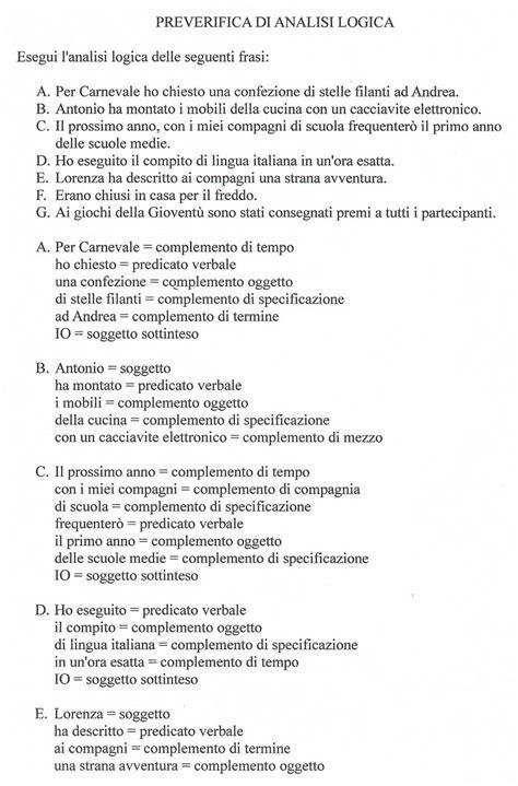 prove d ingresso prima media italiano con soluzioni ciao bambini esercizi per le verifiche di analisi logica