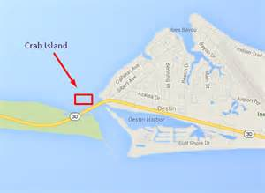 where is destin florida located on the florida map my crab island about crab island destin fl