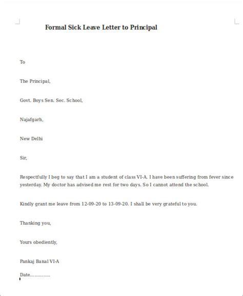 formal sick leave letter templates ms