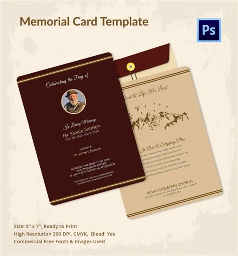 funeral card template psd 21 obituary card templates free printable word excel