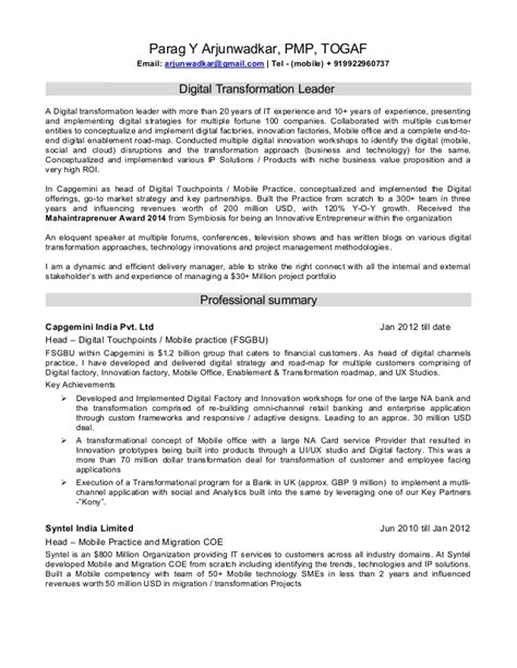 Business Transformation Resume Sle Resume Of A Digital Transformation Leader
