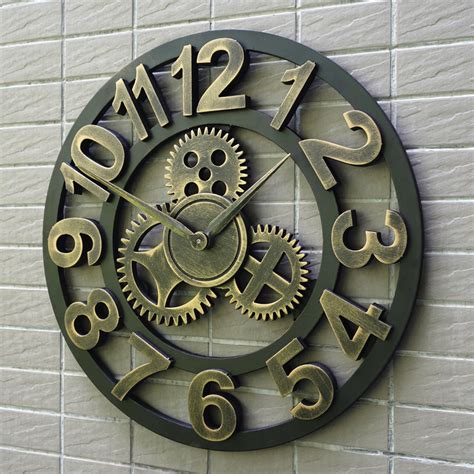 oversized large decorative rustic retro luxury vintage wooden gear wall clock large on the