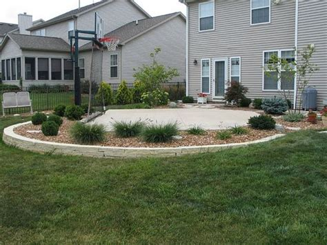 backyard basketball court and landscaping idea good