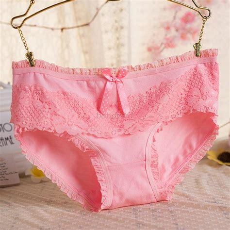 Langerie Cotton bow cotton briefs lace ruffled
