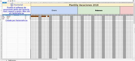 plan de vacaciones empleados gesti 243 n de vacaciones de empleados con excel plantilla 2018