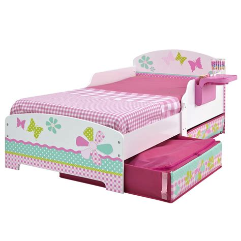 toddler bed with storage girls flowers butterflies patchwork toddler bed with