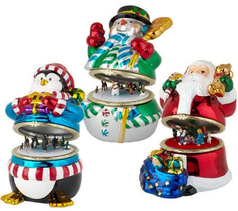 qvc christmas packaging mr set of 3 porcelain boxes w animated qvc