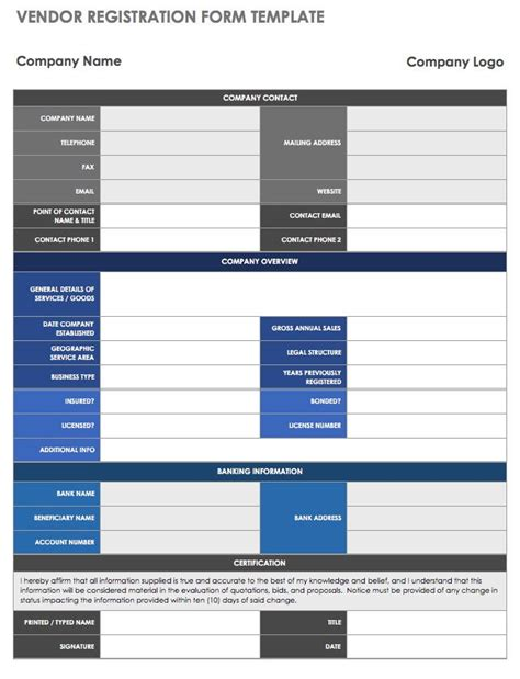 13 Free Vendor Templates Smartsheet Vendor Information Form Template Excel
