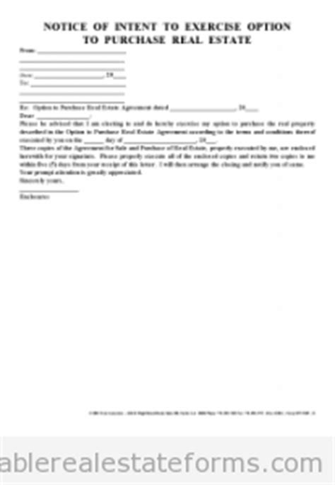Letter Of Intent To Exercise Lease Option Free Printable Notice Of Intent To Exercise Option Word