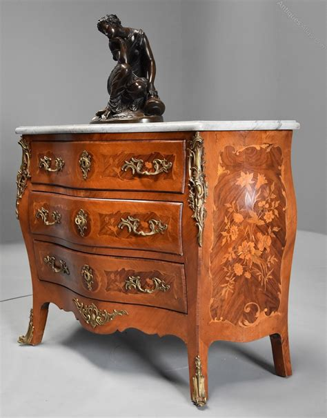 Commode Antique by Walnut Kingwood Floral Marquetry Commode