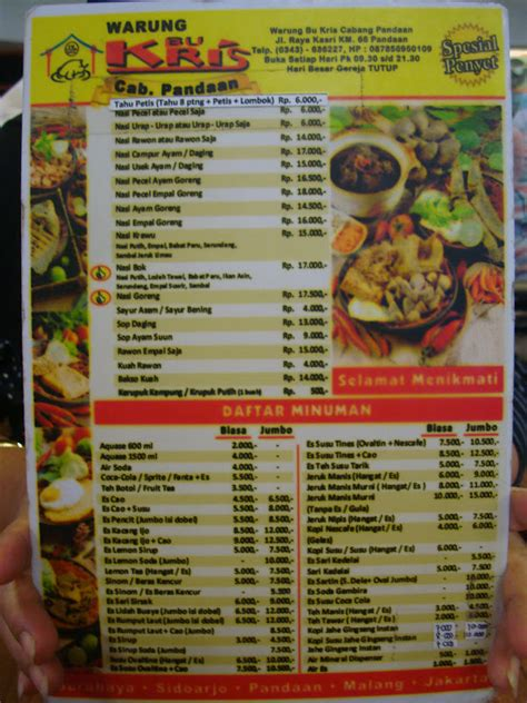 fatin food review warung bu kris pandaan