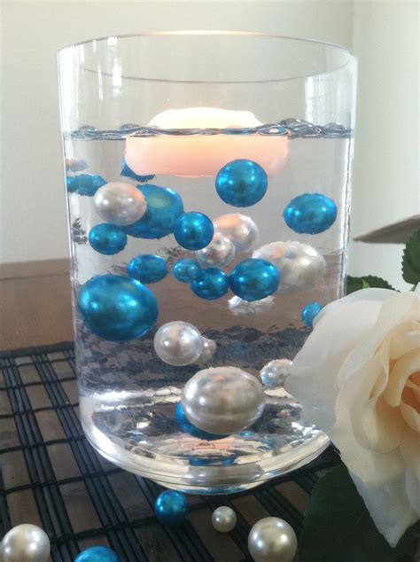 Floating Pearls For Vases by Teal Blue Ivory Floating Jumbo Pearls Vase