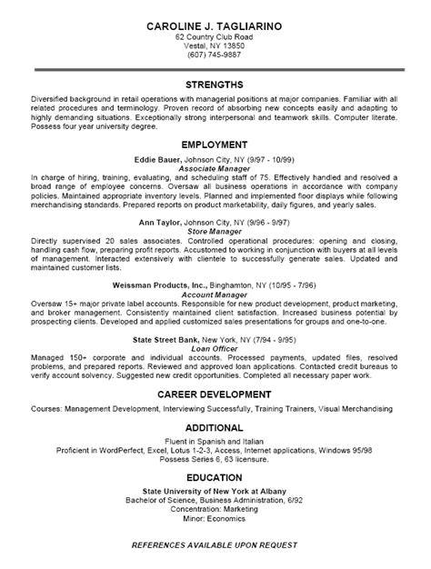 resume templates business 12 business resume exles recentresumes