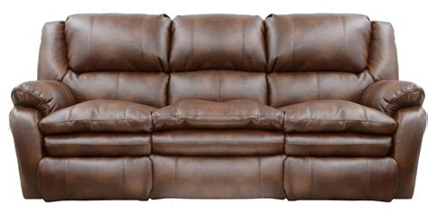 Catnapper Russell Bonded Leather Power Lay Flat Reclining Catnapper Leather Reclining Sofa
