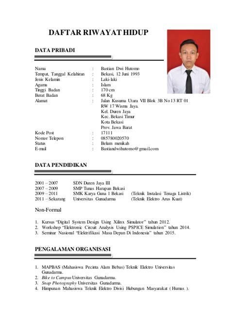contoh daftar riwayat hidup bahasa indonesia 28 images template cv